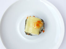 Sushi roll cheese and topping flying fish roe Royalty Free Stock Image