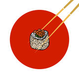 Sushi roll with chopsticks. Japanese food. Hand drawn vector ill Royalty Free Stock Photography