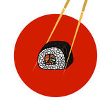 Sushi roll with chopsticks. Japanese food. Hand drawn vector  Royalty Free Stock Photos