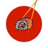 Sushi roll with chopsticks. Japanese traditional food, icon. Iso Stock Photos