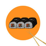 Sushi roll with chopsticks, set. Japanese traditional food, icon Royalty Free Stock Photography
