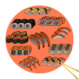 Sushi roll with chopsticks, set. Japanese traditional food, icon Royalty Free Stock Image