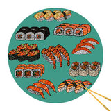 Sushi roll with chopsticks, set. Japanese traditional food, icon Royalty Free Stock Photo