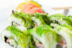 Sushi Roll with Chuka, shrimp, rice and cucumber Stock Photo