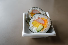 Sushi roll. Closeup of a sushi roll stock photos