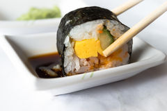Sushi roll. Closeup of a shushi roll stock photo