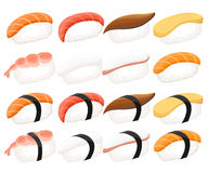 Sushi roll collection Colorful sushi set of different types chopsticks and bowls.  Royalty Free Stock Image