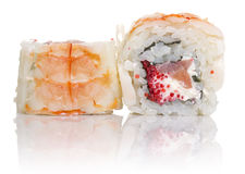Sushi roll with crab isolated Stock Image