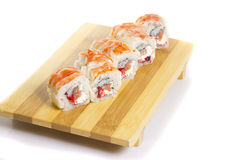 Sushi roll with crab isolated Royalty Free Stock Images