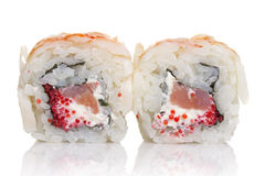 Sushi roll with crab isolated Royalty Free Stock Photo