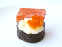 Sushi roll crab stick and flying fish roe mayonnaise Stock Photos