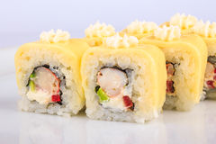 Sushi roll with crabs and avocado Stock Photo