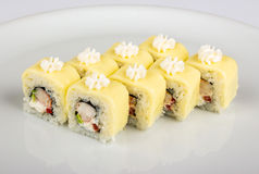 Sushi roll with crabs and avocado Royalty Free Stock Image