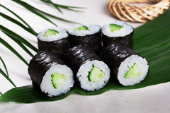 Sushi roll cucumber chives mini kappa maki in the still life on a tropical leaves hosomaki. Sushi roll cucumber chives mini kappa maki in the still life on a Royalty Free Stock Photo