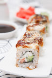 Sushi Roll with Cucumber, Cream Cheese, Salmon and Smoked Eel inside Stock Image