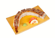 Sushi roll Dragon isolated on white Royalty Free Stock Photo