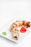 The sushi roll with eel. On the plate Stock Photo