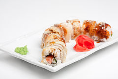 The sushi roll with eel. On the plate Stock Photography