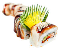 Sushi Roll with eel, tiger shrimp and avocado Royalty Free Stock Images