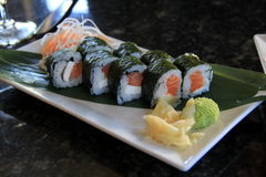 Sushi roll with fresh salmon,rice and cream cheese Stock Photo