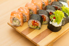 Sushi roll. With ginger and wasabi Stock Photography