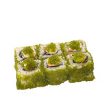 Sushi roll with green caviar isolated on white Royalty Free Stock Photography