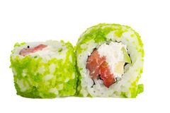 Sushi roll with green caviar isolated on white background Stock Photography
