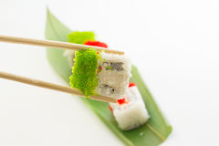Sushi roll with green caviar Royalty Free Stock Photo