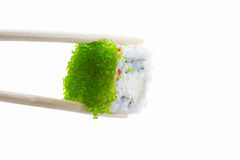 Sushi roll with green caviar Stock Photo