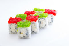 Sushi roll with green and red caviar Royalty Free Stock Images