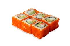 Sushi Roll hakaido maki. Roll hakaido maki isolated on a white background royalty free stock image