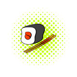Sushi roll icon in comics style Stock Photography
