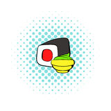 Sushi roll icon, comics style Royalty Free Stock Photos
