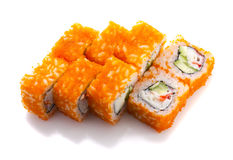 Sushi roll in ikura ( tobiko ) with crab and cucumber isolated Royalty Free Stock Photos