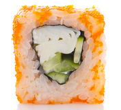 Sushi roll in ikura ( tobiko ) with crab and cucumber isolated Royalty Free Stock Photo