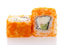 Sushi roll in ikura ( tobiko ) with crab and cucumber isolated Stock Image