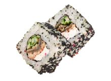 Sushi roll isolated on white background without a shadow stock photo