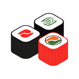 Sushi roll isometric 3d icon. For web and mobile devices Royalty Free Stock Photos