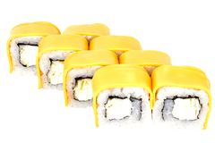 Sushi roll japanese food isolated on white background california sushi roll dietary in cheese closeup. Japanese restaurant menu cheddar vegetarianism rice stock image