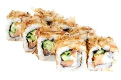 Sushi roll japanese food isolated on white background sushi roll in cod shavings with salmon and cucumber close-up. Of a Japanese restaurant menu cheddar cheese royalty free stock photos