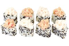 Sushi roll japanese food isolated on white background Philadelphia sushi roll with crab meat close up. Japanese restaurant menu cucumber egg cheddar cheese royalty free stock photos