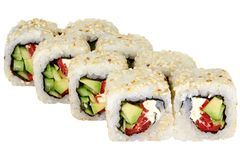 Sushi roll japanese food isolated on white background Philadelphia sushi roll with tuna and cucumber close-up. Japanese restaurant menu cheddar cheese sesame royalty free stock image