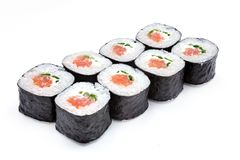 Sushi , roll, Japanese seafood sushi , roll on a white background. Japanese seafood sushi and roll Royalty Free Stock Images