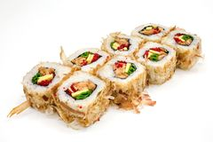 Sushi , roll, Japanese seafood sushi , roll on a white background. Japanese seafood sushi and roll Royalty Free Stock Photo