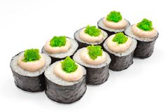 Sushi , roll, Japanese seafood sushi , roll on a white background. Japanese seafood sushi and roll Stock Photography