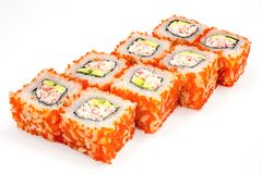 Sushi , roll, Japanese seafood sushi , roll on a white background. Japanese seafood sushi and roll Royalty Free Stock Photography