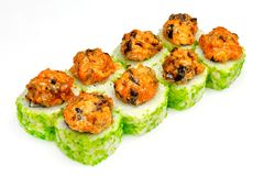 Sushi , roll, Japanese seafood sushi , roll on a white background. Japanese seafood sushi and roll Stock Photos