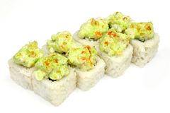 Sushi , roll, Japanese seafood sushi , roll on a white background. Japanese seafood sushi and roll Stock Photo