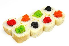 Sushi , roll, Japanese seafood sushi , roll on a white background. Japanese seafood sushi and roll Royalty Free Stock Photos
