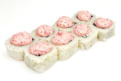 Sushi , roll, Japanese seafood sushi , roll on a white background. Japanese seafood sushi and roll Stock Images